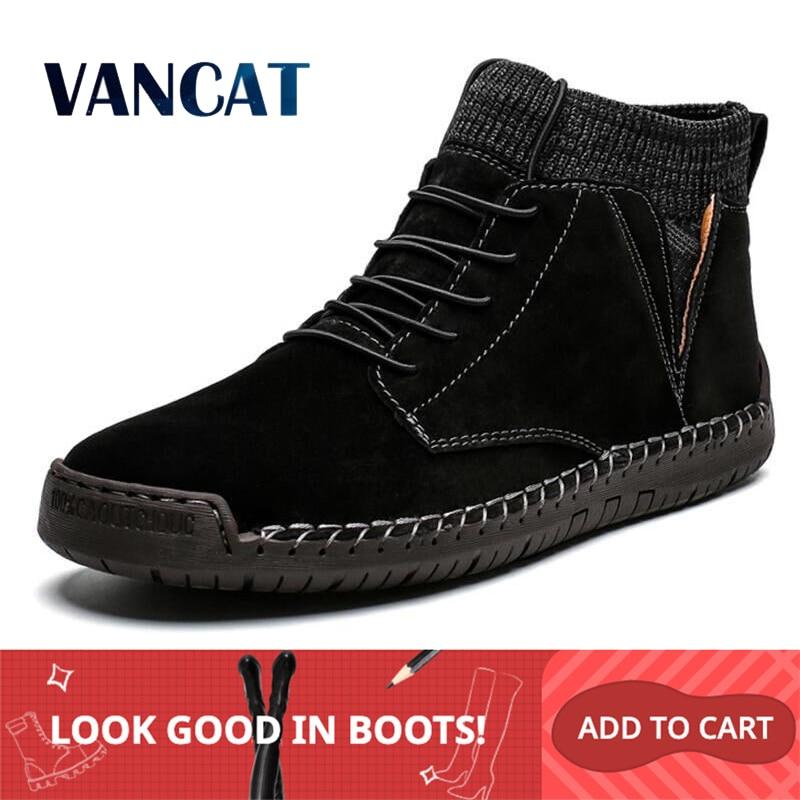 Vancat Brand Winter Men Ankle Boots Quality Leather Shoes Warm Men's Snow Boots Winter Shoes  Fur Men's Boots Shoes Size 38-48