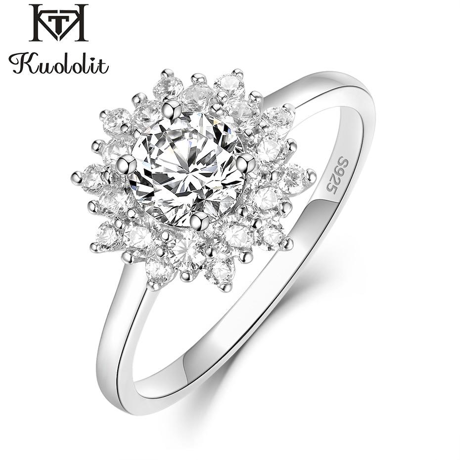 Kuololit Moissanite pierścienie dla kobiet 925 stałe Sterling srebrny pierścień 0.8ct D kolor VVS1 Moissanite naturalny diament Fine Jewelry w Pierścionki od Biżuteria i akcesoria na  Grupa 1