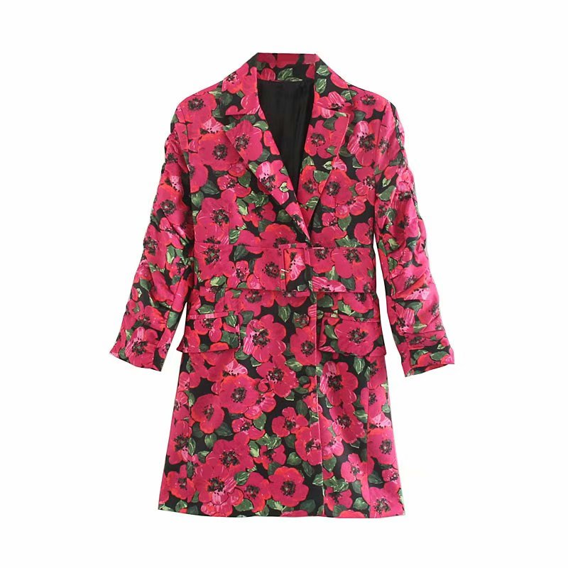 Vintage Chic Floral Print Notched Collar Mini Dress With Belt 2019 Fashion Elegant Women Dresses Long Sleeve Casual Vestidos by Ali Express.Com