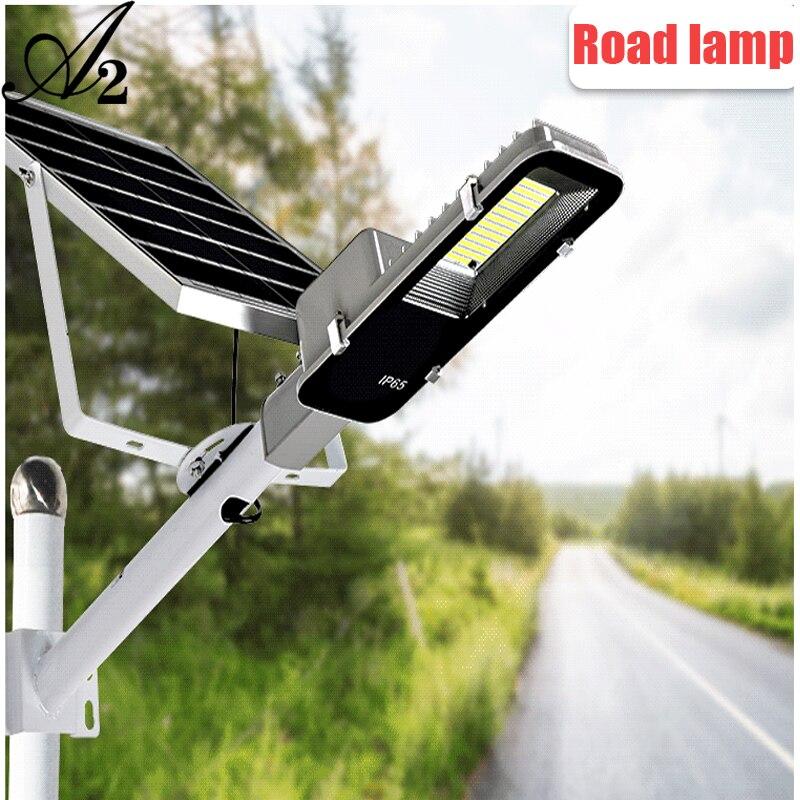 A2 iluminação de rua painel solar lâmpada holofote lâmpada estrada sem fio ao ar livre à prova dwireless água rode luz