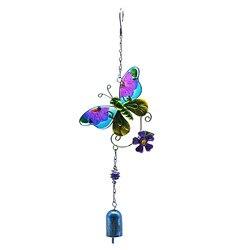 1PC 3D Butterfly Wind Chime Iron Diamond Glass Crafts Three-Dimensional ZAKKA Creative Metal Glass Painted Ornament Garden Decor