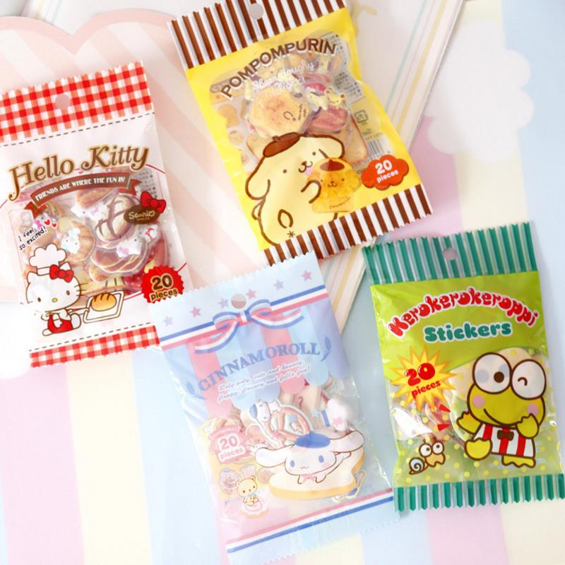 1pack Creative Candy Bag Cinnamoroll Frog Stickers Diary Label Stickers Pack Decor Scrapbooking DIY Stickers Kids Toys Gift