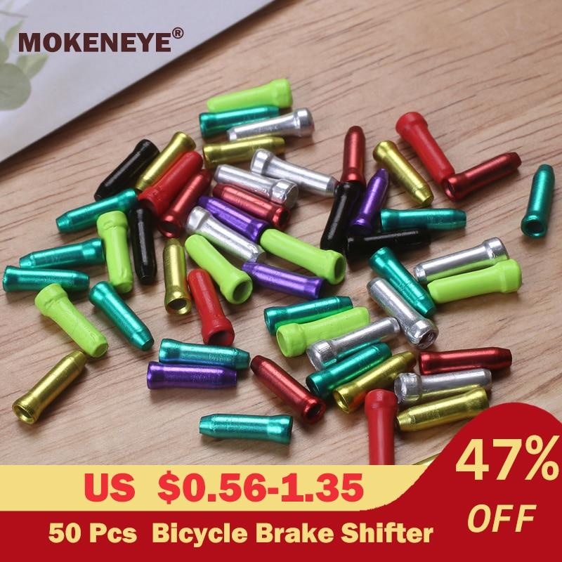 50 Buah/Lot MTB Sepeda Sepeda Rem Shifter Aluminium Batin Kabel Tips Rambut Keriting Siklus Bersepeda Bagian Derailleur Shift Kabel Akhir Topi