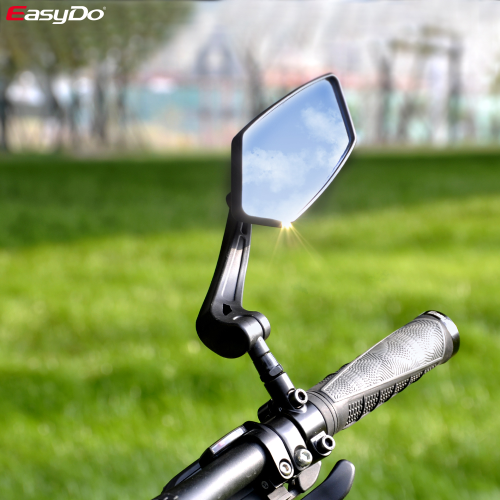 EasyDo دراجة مرآة الرؤية الخلفية دراجة الدراجات مجموعة واسعة البصر الخلفي عاكس قابل للتعديل اليسار المرايا اليمنى