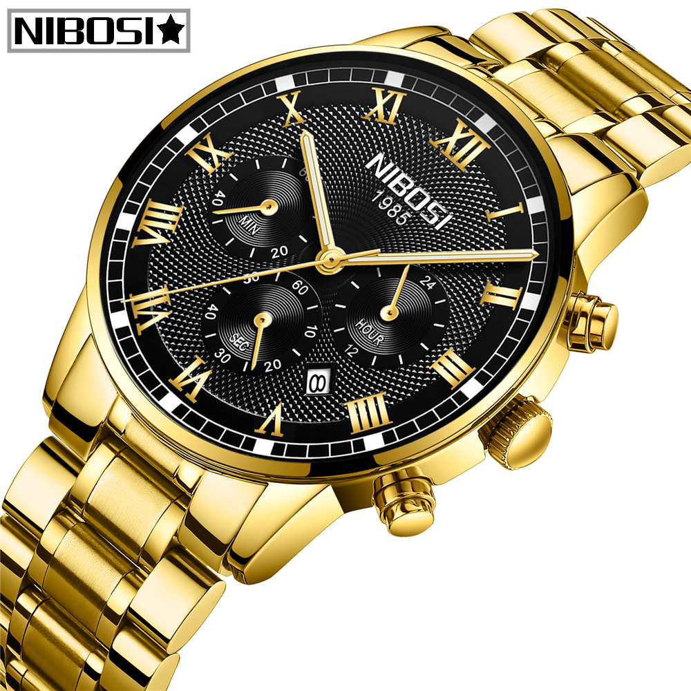 Relogio Masculino NIBOSI Watch Men Fashion Sport Quartz Clock Men Watch Top Brand Luxury Full Steel Business Waterproof Watch