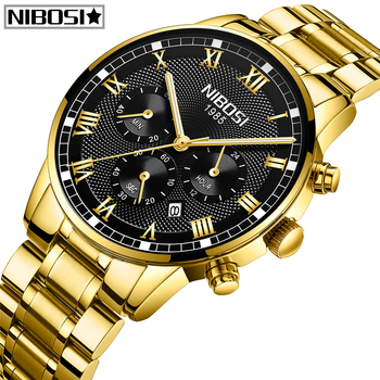 Relogio Masculino NIBOSI Watch Men Fashion Sport Quartz Clock Men Watch Top Brand Luxury Full Steel Business Waterproof Watch 2017 top new creative irregular shape quartz men watch women super simple industrial style watch fashion waterproof unisex clock