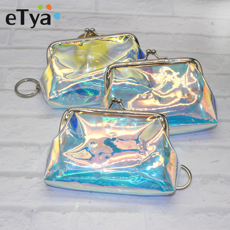 ETya Transparent Laser Women Cosmetic Bag Travel Make Up Bags Fashion Reto Pouch Neceser Toiletry Organizer Case Clutch Tote