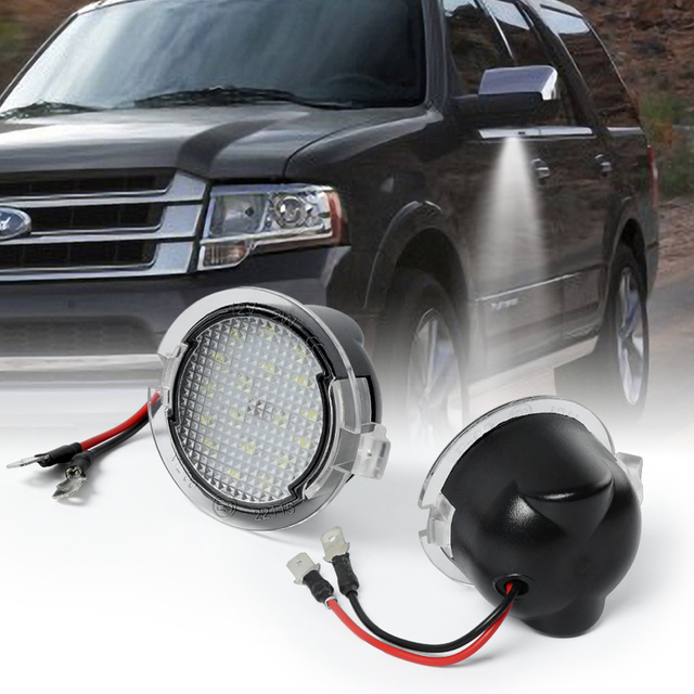 LED Side Under Mirror Puddle Lights For Ford F 150 Expedition Explorer Edge Flex Fusion Taurus X Lincoln MKS MKT MKX MKZ Mercury