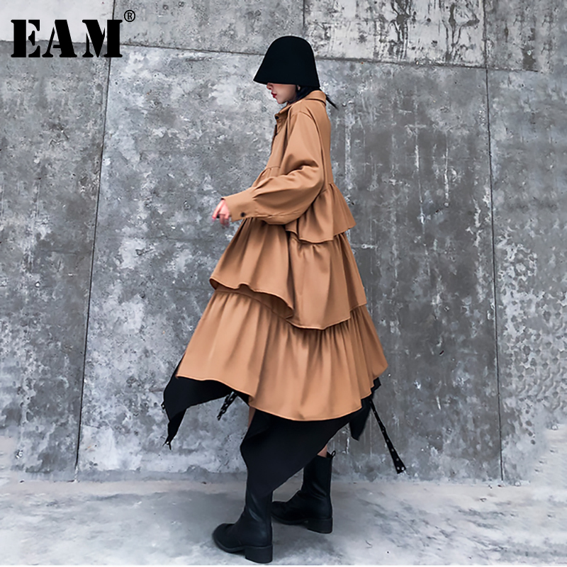 [EAM] Women Layers Rufflles Split Big Size Shirt Dress New Lapel Long Sleeve Loose Fit Fashion Tide Spring Autumn 2020 1N805