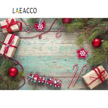 Laeacco Christmas Backdrops Pine Gift Bauble Ball Baby Toys Candy Bar Wooden Board Portrait Background Photocall Photo Studio