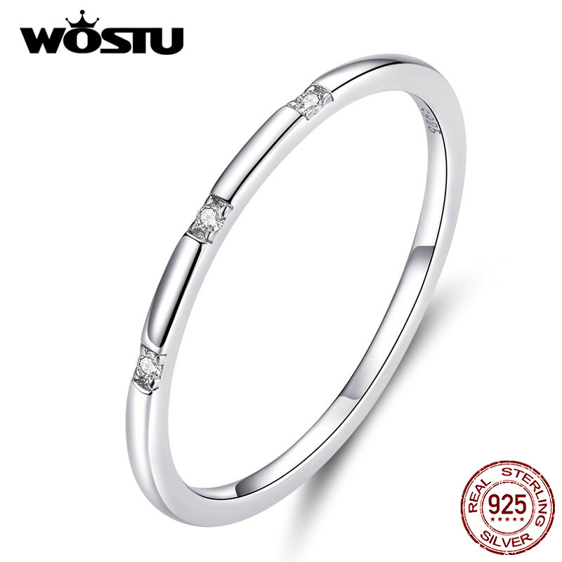WOSTU 100% Real 925 Sterling Silver Minimalist Ring For Women Delicate Wedding Rings Engagement Lover Fine Jewelry DXR591