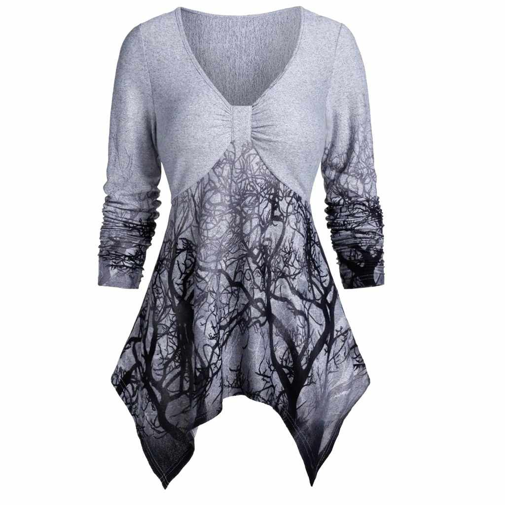 Plus Size Fashion Boom Print Tuniek Blouse Casual Winter Dames V-hals Tops Vrouwelijke Womens Tops Lange Mouw Blusas Trui