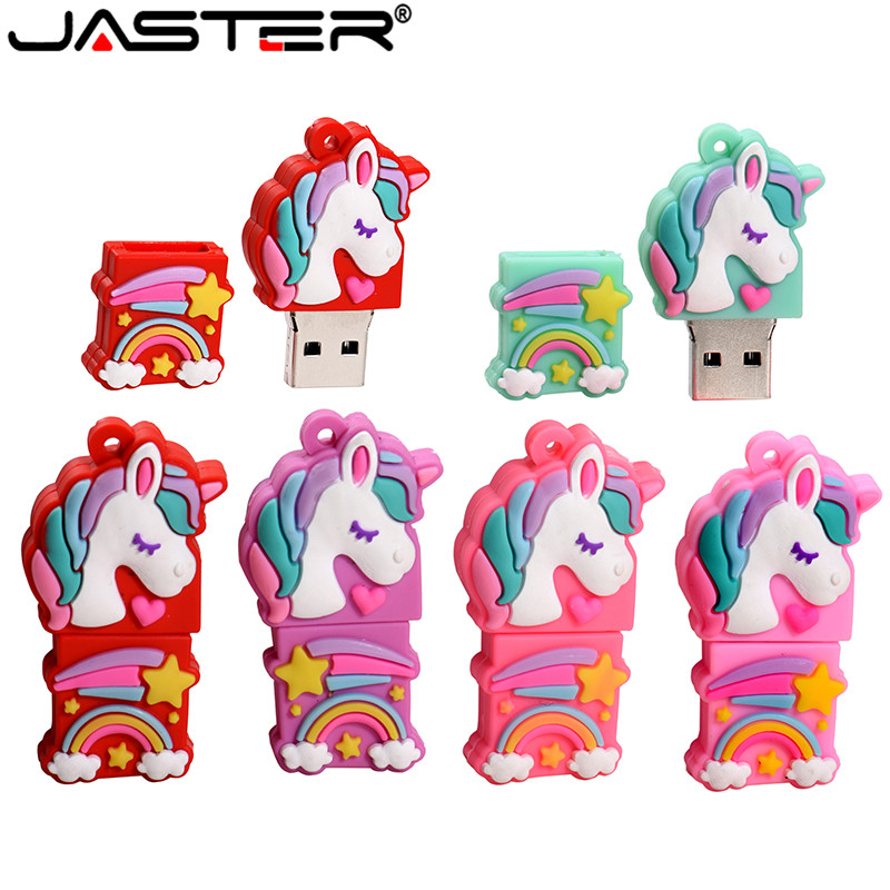 JASTER Cartoon The New Unicorn Pen Drive 16GB 4GB 64GB 32GB Usb Flash Drive Pendrive Memory Stick U Disk Fashion Gift