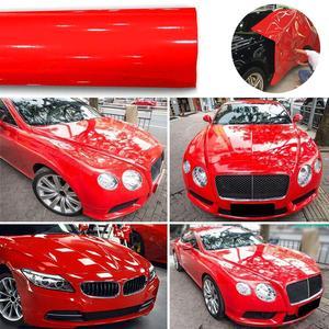 30*152 см модификация автомобиля Супер Глянцевая красная виниловая пленка оберточная наклейка украшение Фольги запасная оптовая продажа быс...