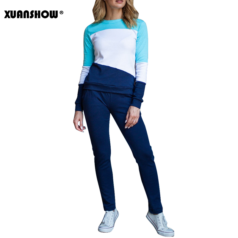 XUANSHOW 2019 New Tracksuit Women Autumn Winter Splice Long Sleeve Sweatshirt And Long Pant Two Piece Set Jogging Femme Clothes