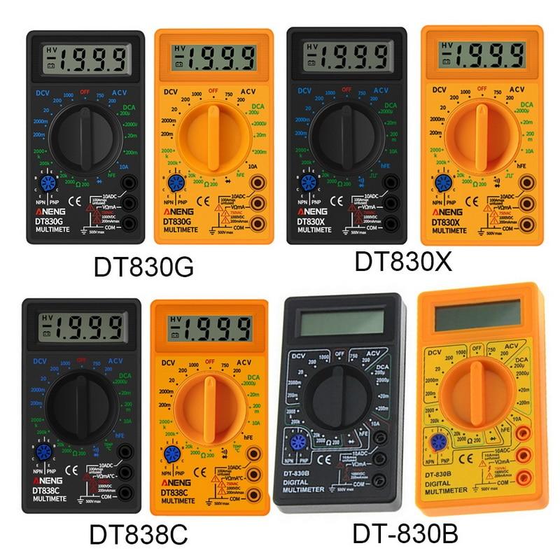 Цифровой ЖК вольтметр 830B желтый Омметр Амперметр мультиметр Ручной тестер DT830B AC DC домашний тестер|Мультиметры|   | АлиЭкспресс