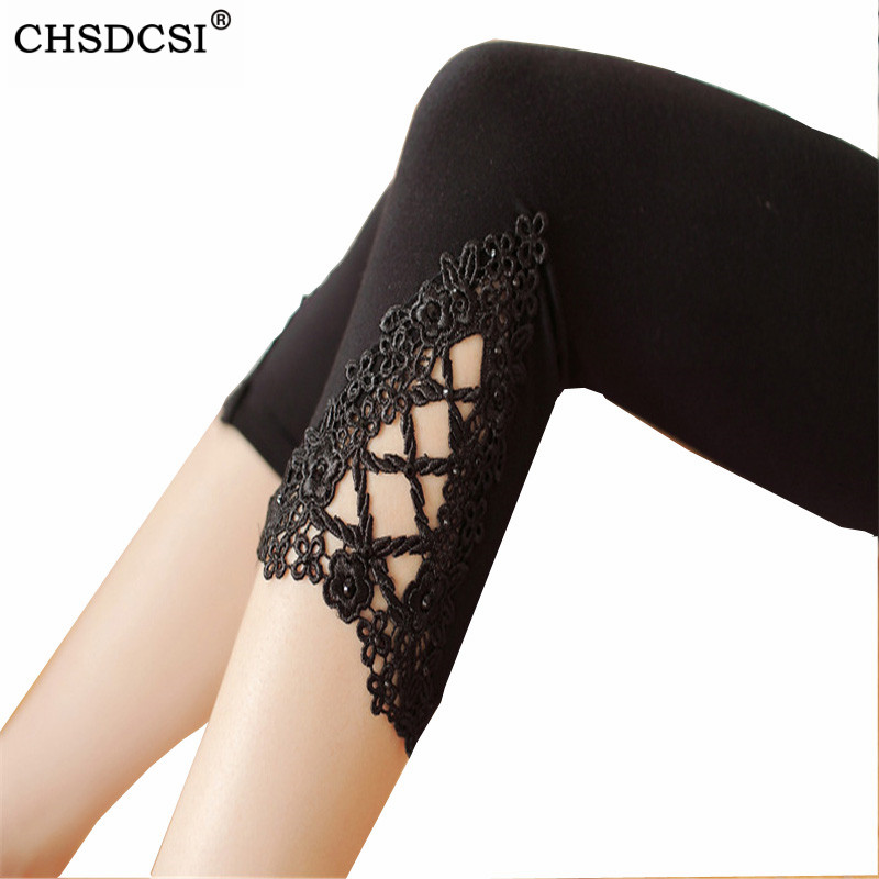 CHSDCSI Lace Style Modal Cotton Leggins Women's Candy Color Stretchy Elasticity Capris Cropped Leggings Black Fitnees Leggins