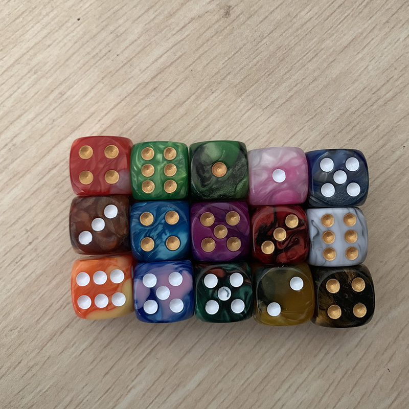 5pcs/set Two-color Dice Puzzle Game 15 Kinds Colorful Point Dice Send Children Funny Game 16mm