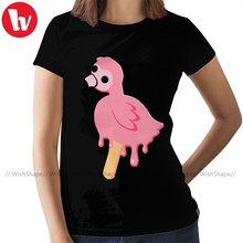 Flamingo T-Shirt Flamingo Melting Pop T Shirt Purple Cotton Women tshirt Short Sleeve Graphic Ladies Tee Shirt