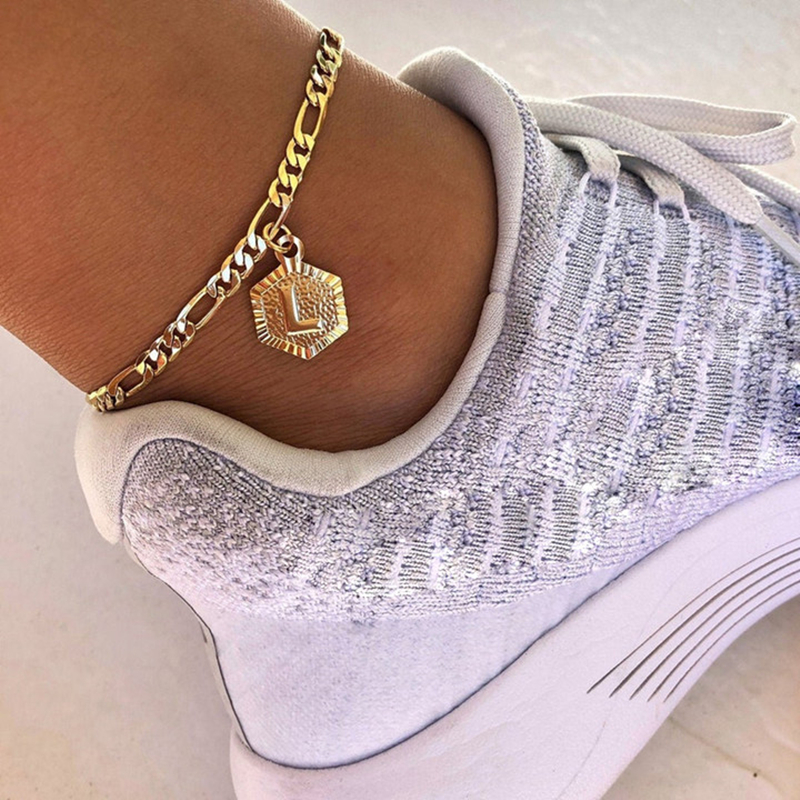 Dainty A-Z letter Anklet Hexagon Shaped Initial Ankle Bracelet Stainless Steel Feet Jewelry Gold Color Leg Chain Women Gifts
