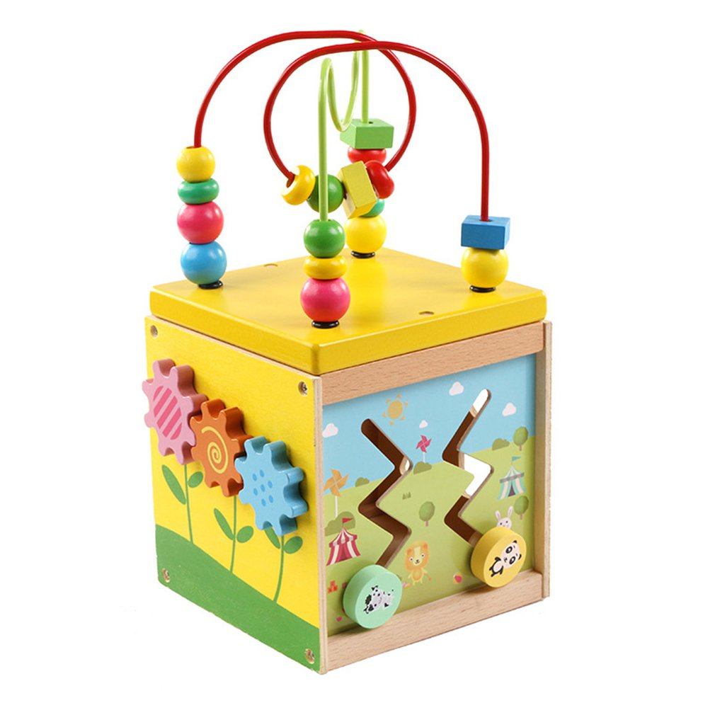 Wooden Children's Educational Toys Multi-function Round Bead Treasure Box Baby Clock Shape Cognitive Fun Toys