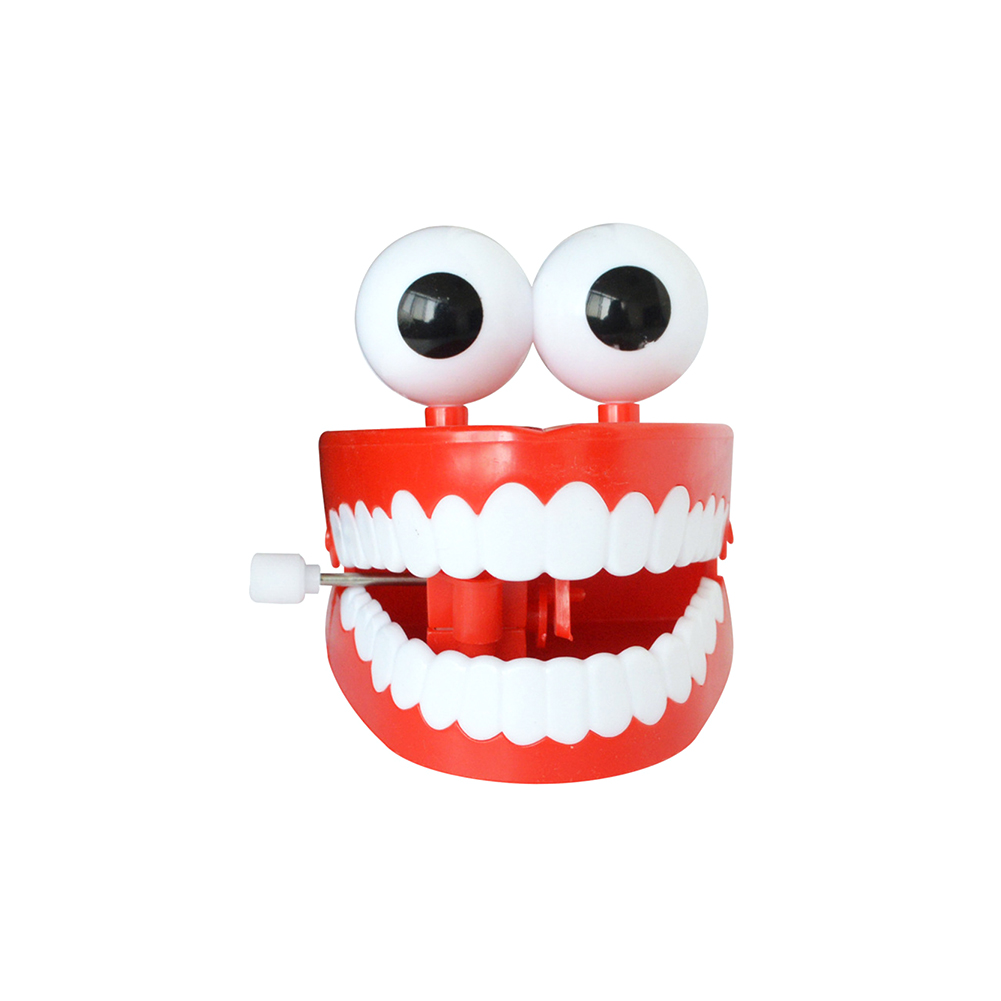 Halloween Toy Wind-up Chattering Chomping Teeth With Eyes Novelty Party FavorsRed