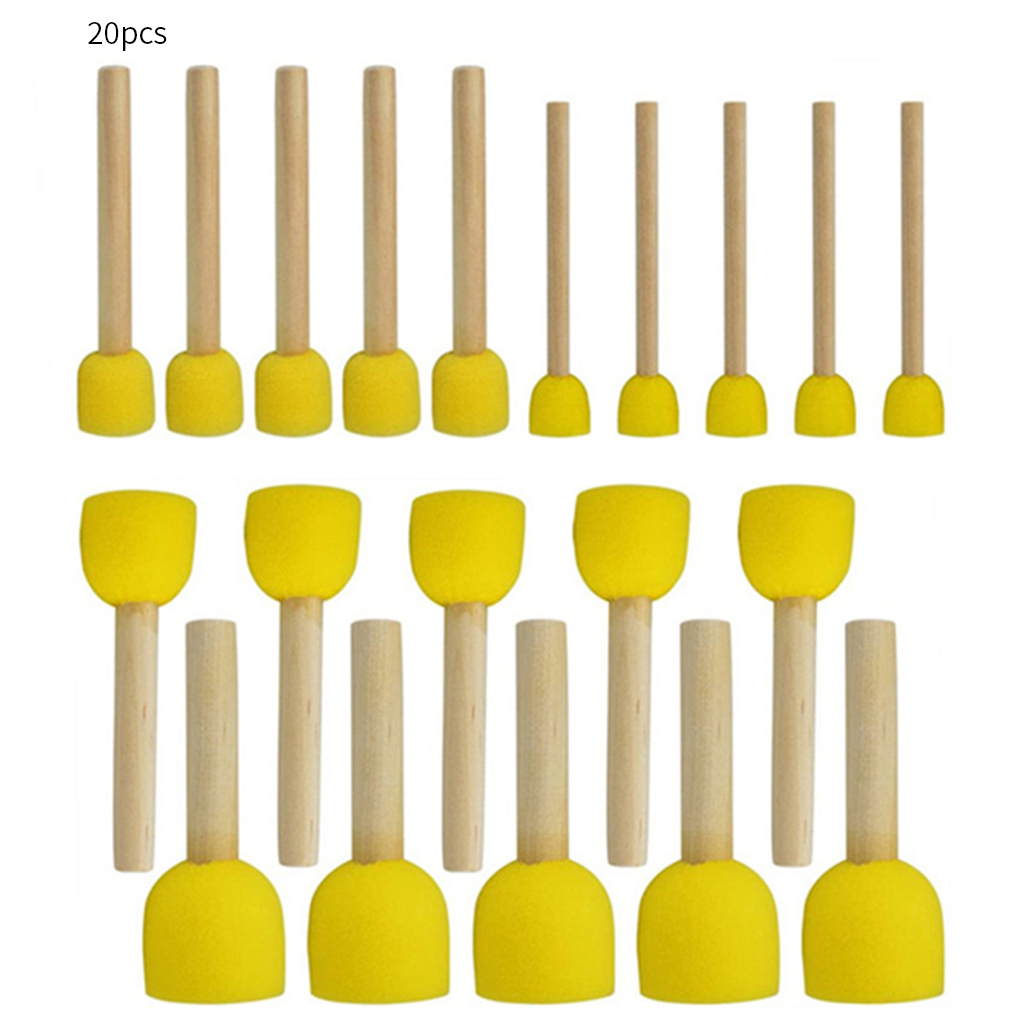 Набор круглых губки, набор кистей для рисования «сделай сам» с деревянной ручкой, 20/24 шт.