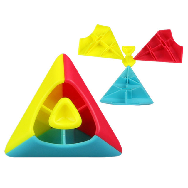 QIYI 2x2 Pyramid Cube Stickerless Magic Cubes Professional 2x2x2 Puzzle Speed Cube Educational Toys For Children 4