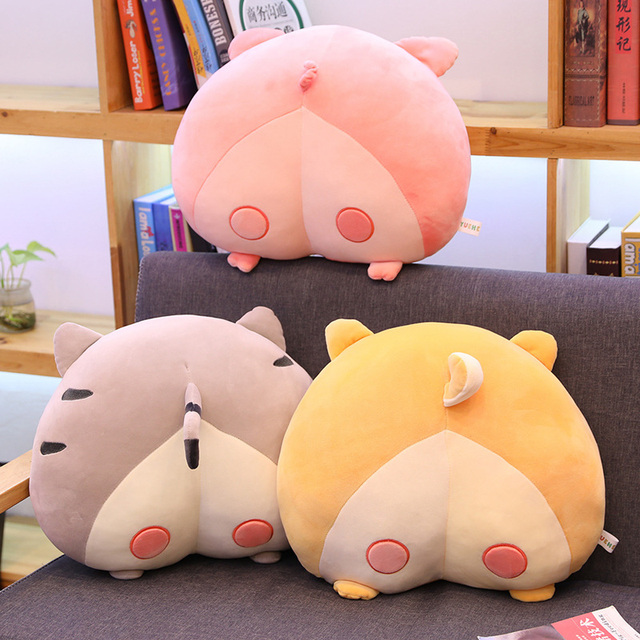 Kuy 2020 novo bonito 40 cm/50 cm novidade chi chi gato bunda de pelúcia corgi travesseiro porco almofada dos desenhos animados animal sofá recheado cão crianças brinquedos