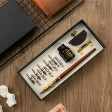 10-Nibs Ink Dip-Pen Fountain Blotter-Gift-Box Calligraphy Stationery Office-Supplies
