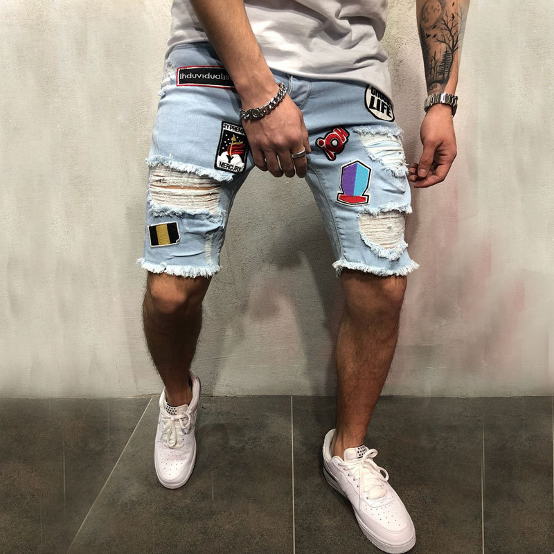2018 Trend Cool Men'S Wear Fashion Popular High Street Hole Patch Ripped Jeans Elastic Denim Shorts