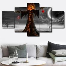 5 панелей настенная живопись на холсте Хэллоуин голова тыквы