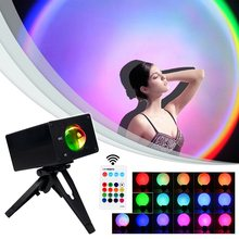 USB 16 Color Sunset Projector Light Atmosphere Floor Lamp Rainbow Projection for Background Wall Room Creative Decor Night Light