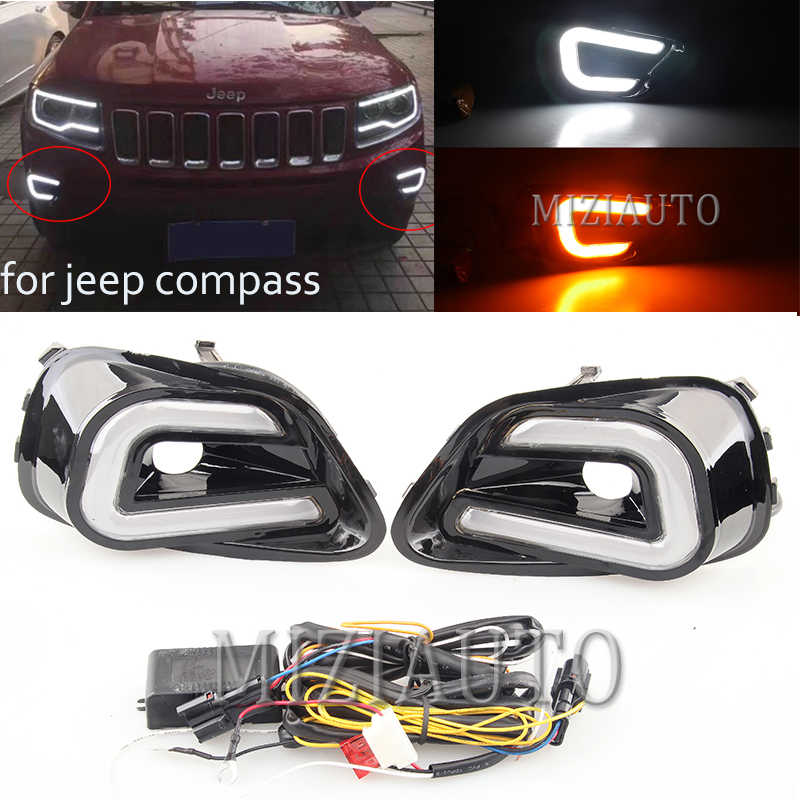 2 Stuks Auto Led Daytime Drl Running Light Wit + Geel Side Draaien Licht Fog Lamp Voor Jeep Compass 2011 2012 2013 2014 2015 2016