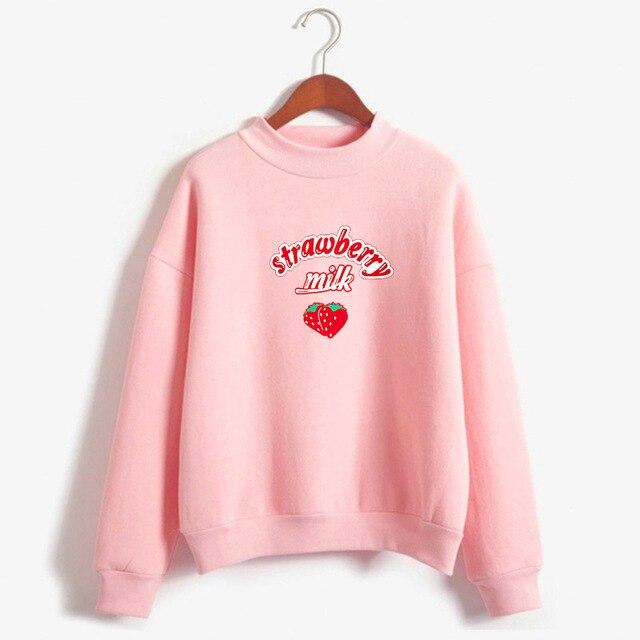 2020 Harajuku Kawaii Strawberry Milk Hoodie Sweatshirt Tops Women Kpop Lolita Style Strawberry Sweatshirts Schoolgirl Streetwear 1