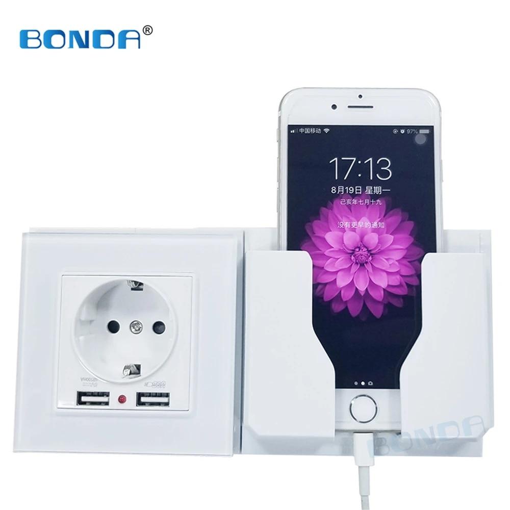 BONDA dual USB  power socket EU German standard wall socket charger adapter electric wall charger adapter tempered glass panel