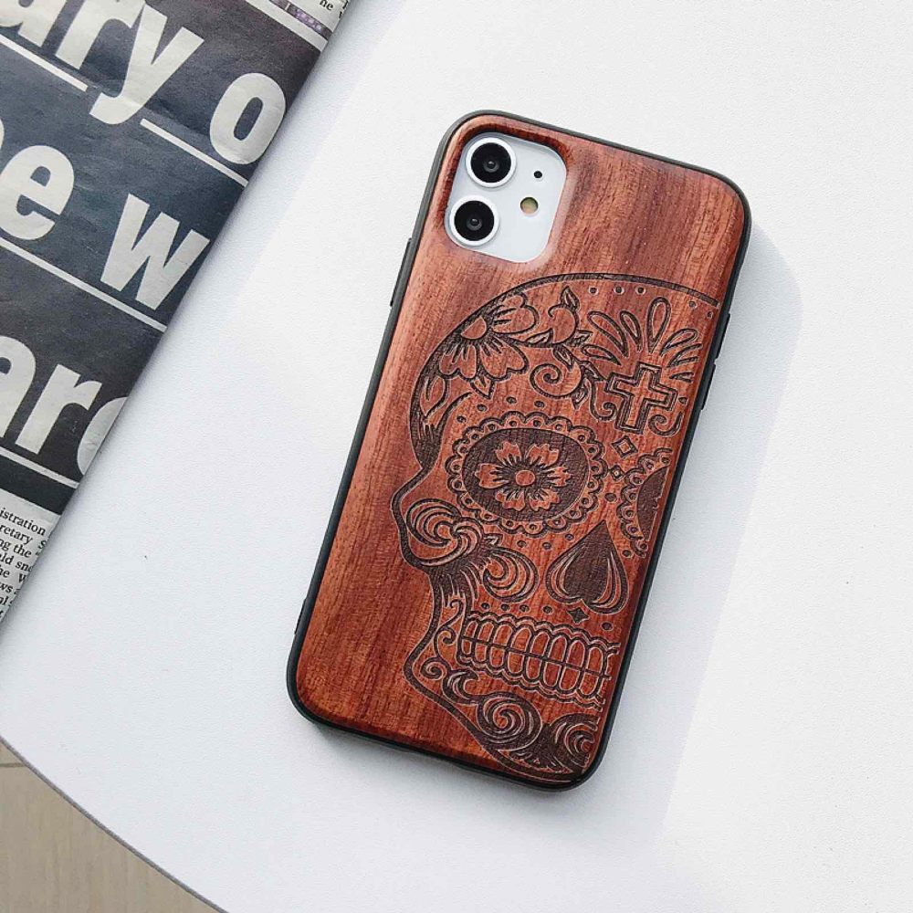 Natural Laser Carving Wooden Phone Case For iPhone 12 Mini