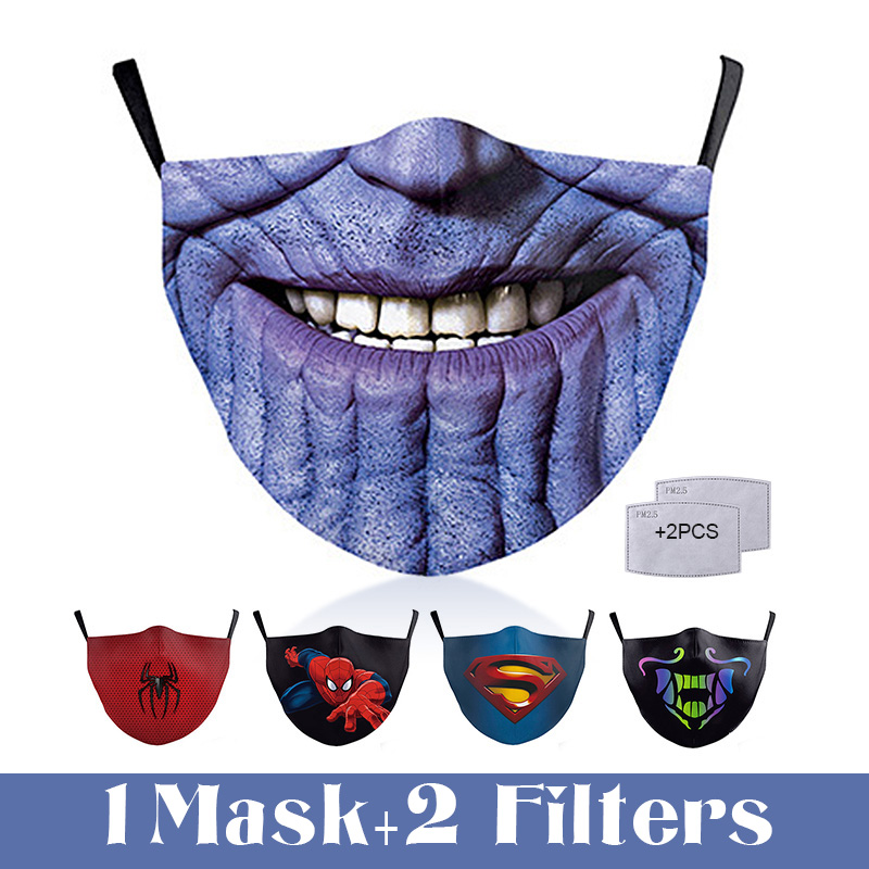 Fashion Reusable Face Mask PM2.5 Filter Printed Mouth Mask Anti Dust Windproof Mouth-muffle Bacteria Proof Fog Protective Mask
