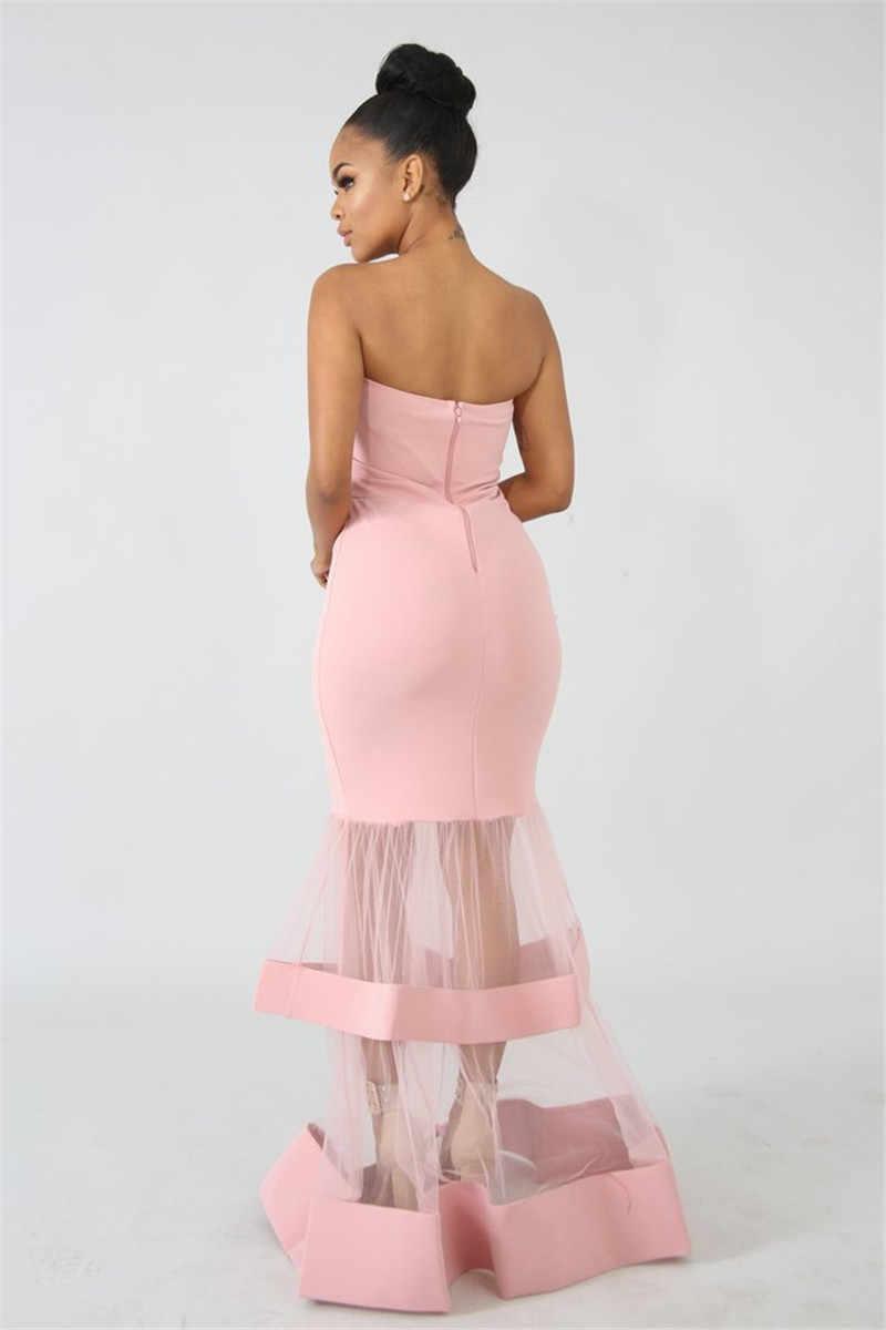 U Frauen Abend Party Kleid Sexy Liebsten Mesh Patchwork Sehen Durch Hohe Split Mantel Lange Maxi Cascading Rüschen Hem Vestidos