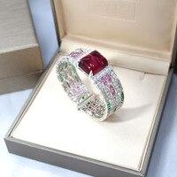 925 Silver High Quality Luxury Jewelry Silver Zircon Bracelet For Women Wedding Jewelry Red CZ Stones Special Store