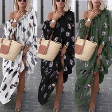 Women's Clothing For The Beach Swimsuit Solid Skirts Plus Size Swimwear Woman Women Feather Printed 2019 Inclined Loose Dress