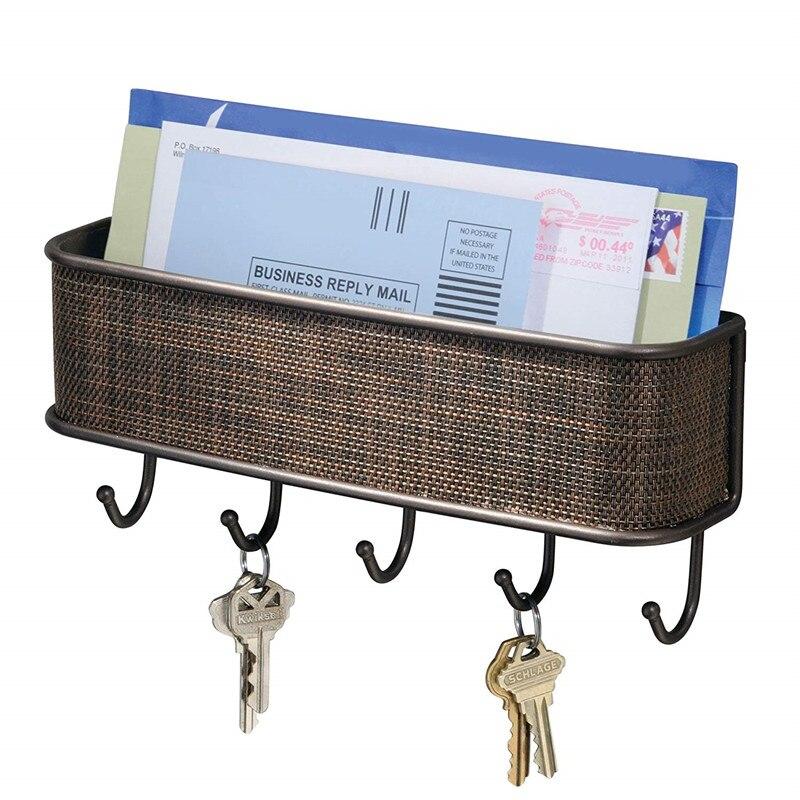 Key Holder Wall Hook Folk Pure Manual Vintage Design Graceful Elegant Bronze Letter Holder Key Rack Organizer