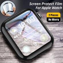 Protetor de tela para apple watch 6 5 4 se capa completa filme de vidro temperado 3d para iwatch 3 2 1 38mm 42mm 40mm 44mm anti risco
