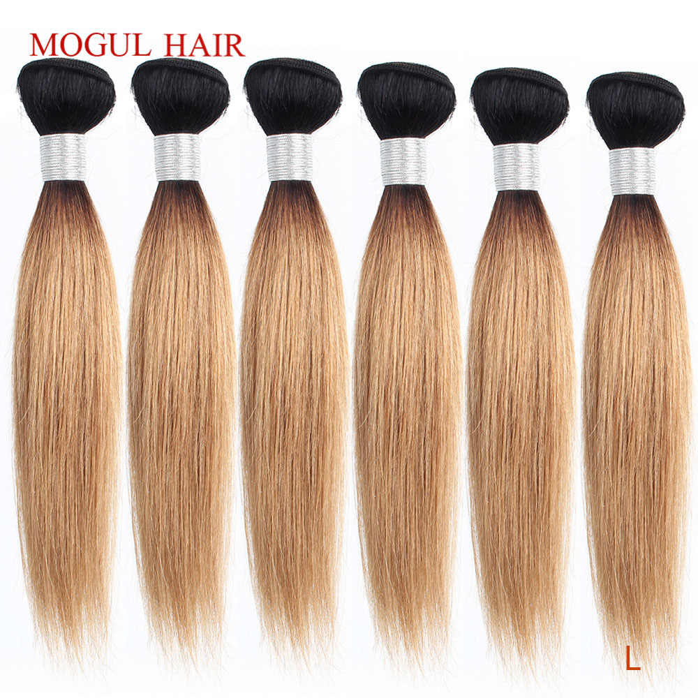 Mogul Haar 4/6 Bundels 50 G/stk 10-16 Inch 1B 27 Donkere Wortel Ombre Honing Blonde Ombre Peruaanse Straight bruin Remy Human Hair Weave