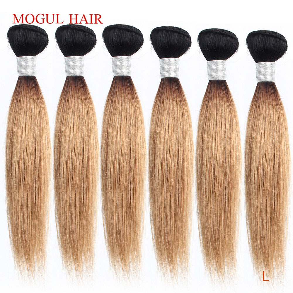 MOGUL HAIR 4/6 Bundles 50g/pc 10-16 Inch 1B 27 Dark Root Ombre Honey Blonde Ombre Peruvian Straight Brown Remy Human Hair Weave
