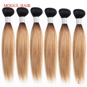 MOGUL HAIR 4/6 bundles 50g/pc 10-16 inch 1B 27 Dark Root Ombre Honey Blonde Ombre Peruvian Straight Brown Remy Human Hair Weave(China)