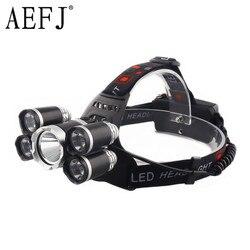 Налобный фонарь AEFJ, 5 лм, 5 * LED T6 + 2R5, светодиодный, для рыбалки