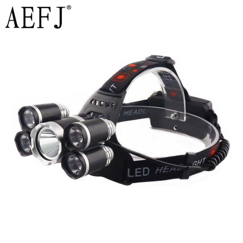 AEFJ 5000LM 5*LED T6+2R5 LED Headlamp Headlight Head Lamp Lighting Light Flashlight Torch Lantern Fishing