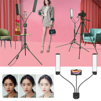 Portable soft light double arm fill light led ring light with tripod bracket for selfie photography video live studio makeup