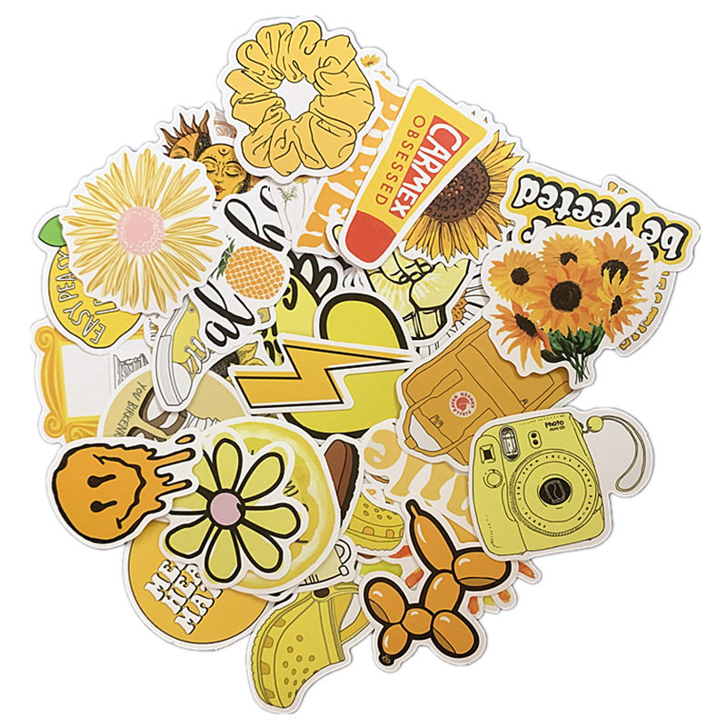 50PCS Cartoon Yellow INS Style Vsco Girl Stickers For Laptop Moto Skateboard Luggage Refrigerator Notebook Laptop Toy Sticker F5